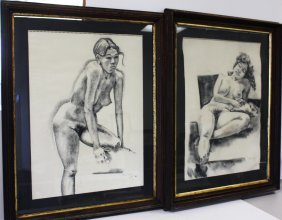 John Suplee; Two(2) 20thc. Charcoal Drawings Signed