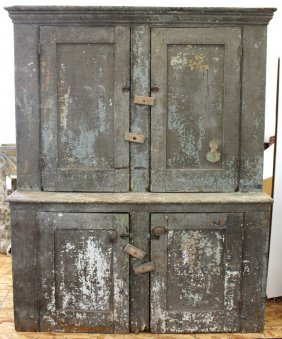 Early American Country Stepback Jelly Cupboard