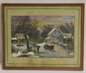 Unusual Currier And Ives Needlepoint