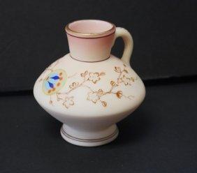Webb Enameled Burmese Glass Creamer