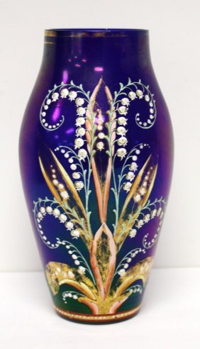 Bohemian Enameled Cobalt Glass Vase
