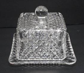 American Pressed Glass Covered Cheese Dish
