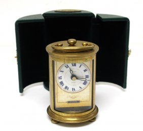 Timeworks Brass Carriage Clock With Case