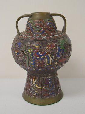 Champleve Enameled Bronze Vase