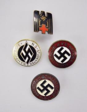 Collection of WW2 German Enamel Pins, (4pc)