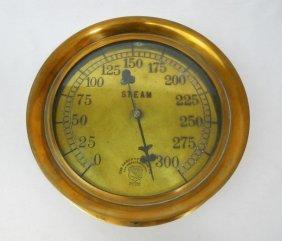 Antique Brass Steam Gauge, Ashcroft Mfg. Co. 1898