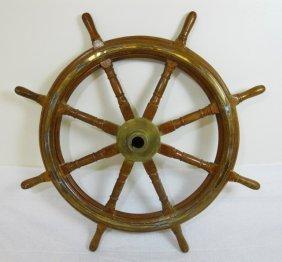 Antique Brass Bound Wood Ship's Wheel