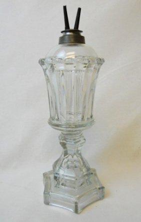 19th C. Sandwich Glass Whale Oil Lamp