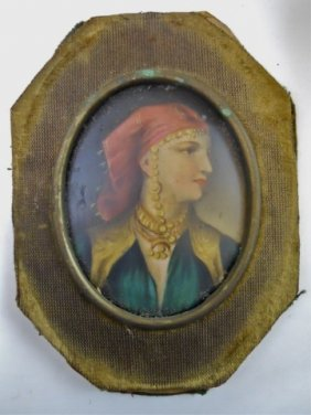 19th C. French Painted Miniature Of Gypsy Woman
