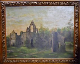 19th C. Oil On Canvas, Ruined Abbey