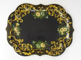 Antique Tole Tray, Hand Painted In Floral Motif