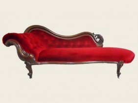 19th C. Carved Walnut Chaise Lounge