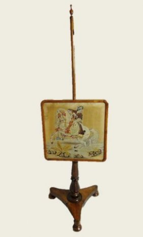 Antique Pole Fire Screen, Persian Petit Point
