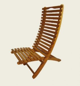 Scandinavian Modern Slatted Deck Chair