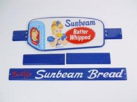 Vintage Sunbeam Door Pull Advertising Signs, Nos