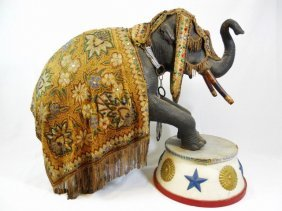Antique Wooden Costumed Circus Elephant