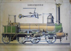 19th C. French Print, Steam Locomotive, Dated 1879