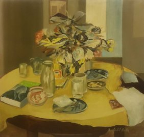 Fairfield Porter – Still Life –signed-oil On Canvas.