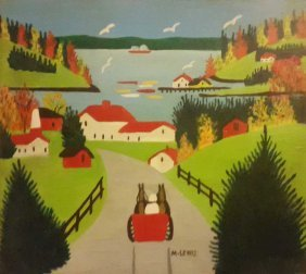 Maud Lewis (1903-1970) – Winter Landscape – Signed