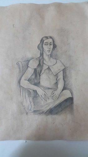 "Wonderful Pencil Drawing ""untitled ""with Sig. Clovis Tr"