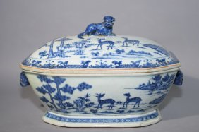 17-18th C. Chinese Blue And White Covered Bowl
