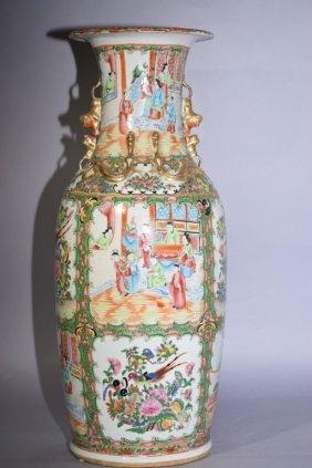 19th C. Chinese Export Famille Rose Medallion Vase