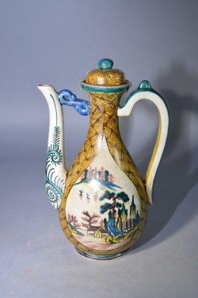 Japanese Kutani Style Glaze Long Neck Wine Pot