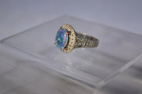 Sterling Silver Blue Oval Opal Ring, Size 7