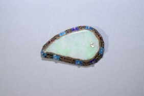 Chinese Enamel Over Silver And Jadeite Brooch