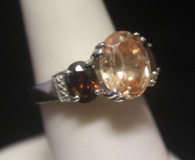 Gorgeous Garnet & Agate Silver Ring