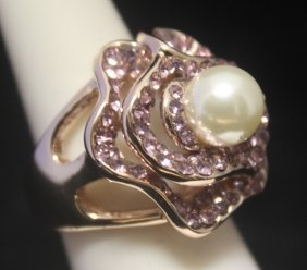 Gorgeous 14kt Rose Gold Over Silver Pearl & Sapphire