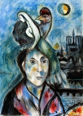 The Lovers 1964' - Pastel Drawing - Marc Chagall