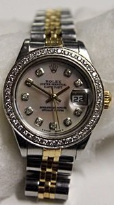 Lady's 18k Diamond Dial Datejust Rolex Watch