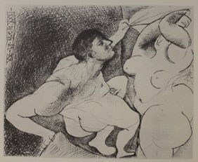 Man Unvieling Women Lithograph - By Picasso