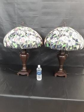 Pair Of Tiffany Style Stained Glass Lamp