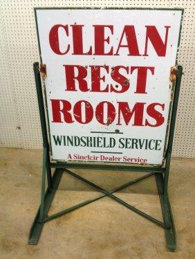 1940's Sinclair Dealer Restroom Sign W/stand