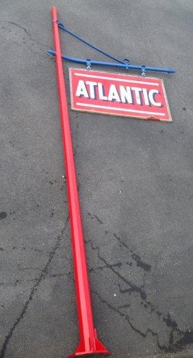 Porcelain Atlantic Gasoline Pole & Sign