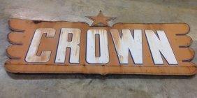 1950 Crown Gasoline Dealer Embossed Sign