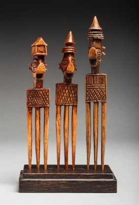Lot With Three Yaka Combs