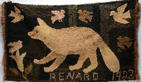 Renard. Fox Hooked Rug.