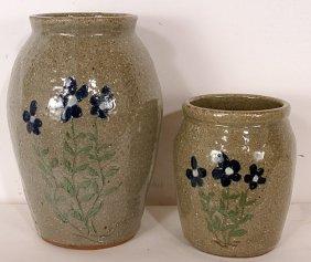 David Meaders Flower Decorated Vase Pair.