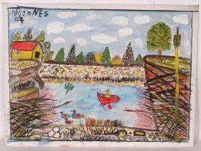 M.C. 5� Jones. Fishing Painting.