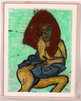 Ike Morgan. Study Of A Woman Watercolor.