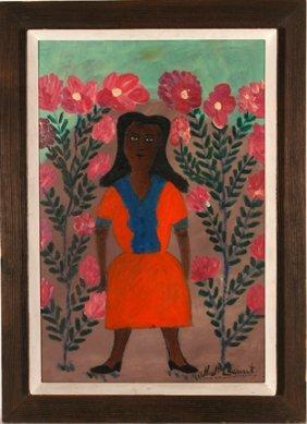 H.J. Leurent. Woman Standing W Flowers.