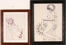 Pair Of Erotic Torture Drawings.
