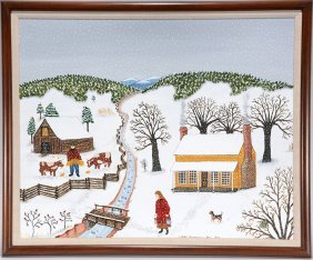 Linda Anderson. Winter Scene With House, Barn And Cows.