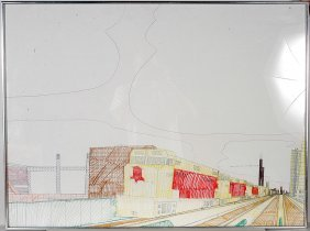 Wesley Willis. Rock Island Railroad & Chicago Skyline.