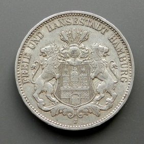 German Reich, 3 Mark Silver Coin. Made In Germany