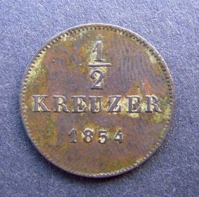 . 1/2 Kreuzer Coin. Made In 1854. Made In German