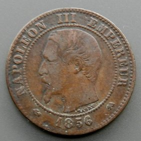 Bronze Coin Made In France In 1856. Napoleon Iii.